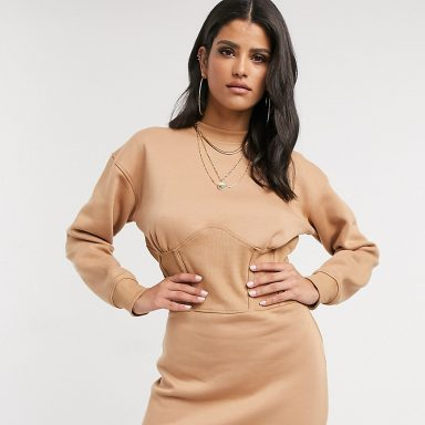 Missguided Tall  - Robe sweat style corset - Camel beige - Femme grande