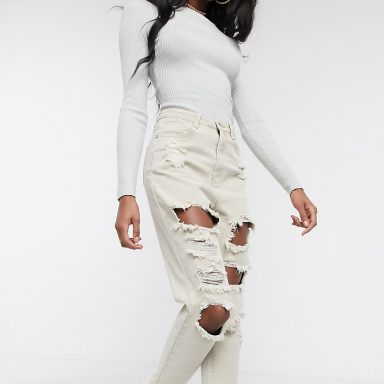 Missguided Tall  - riot - Jean mom avec déchirures   taupe - Femme grande