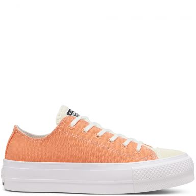 Renew Cotton Platform Chuck Taylor All Star Low Top Fuel Orange/White/White grande taille