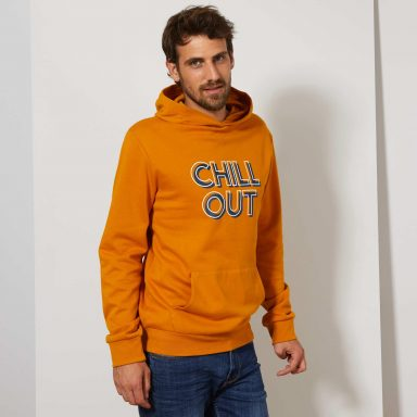 Sweat imprimé à capuche jaune - Homme grand