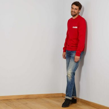 Sweat imprimé message rouge - Homme grand