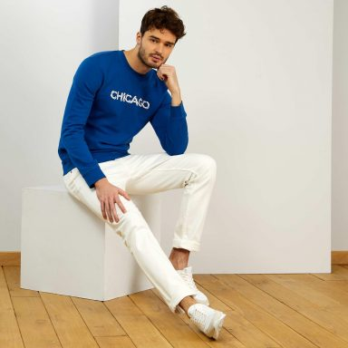 Sweat message 'éco-conception' bleu - Homme grand