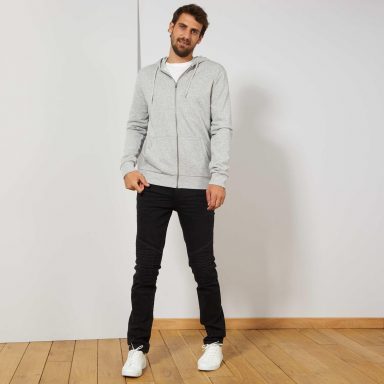 Sweat zippé à capuche gris clair chiné - Homme grand
