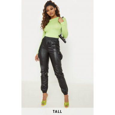 Tall - Pantalon droit à poches en similicuir noir